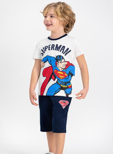 Superman  Lisanslı Lacivert Erkek Çocuk Kapri Takım Krem